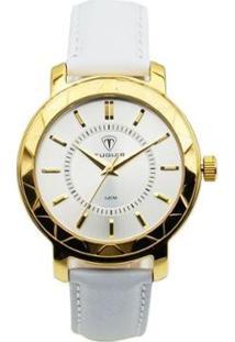 Relógio Tuguir Analógico Feminino - Feminino-Dourado+Branco