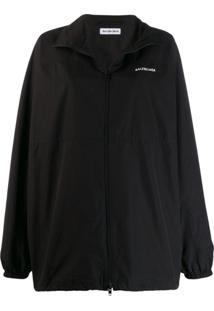 Balenciaga Jaqueta Com Logo E Zíper - Preto