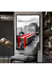 Quadro 150X100Cm Masp São Paulo Paulista Vidro Cristal E Moldura Preta Decorativo Interiores - Oppen House