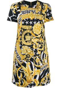Versace Vestido Com Estampa Barroca - Dourado