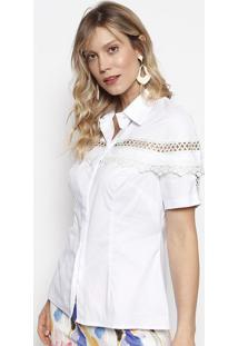 Camisa Com Renda Guipir- Branca- Nectarinanectarina