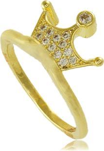 Anel Coroa Com Zircônias Cravejadas 3Rs Semijoias Dourado