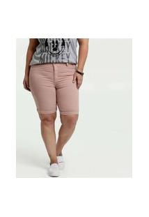 Bermuda Feminino Sarja Barra Dobrada Plus Size