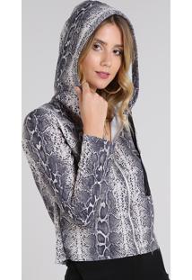 Blusão Feminino Estampado Animal Print Em Moletom Com Capuz Kaki