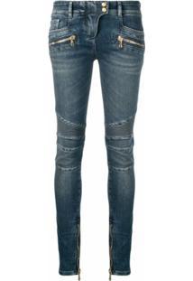 Balmain Jaqueta Jeans Biker Skinny - Azul