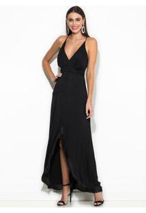Vestido Longo Assimétrico Com Franja Preto