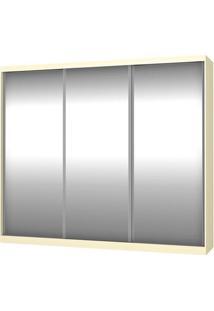 Roupeiro 774-E3 3 Portas Correr C/ 3 Espelhos - 220Cm - Marfim Areia