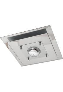 Plafon Saturno Aluminio E Vidro Pmq 130 Escovado Espelhado Bivolt