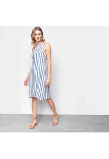 Vestido Curto Yutz Listrado Feminino - Feminino-Azul+Branco