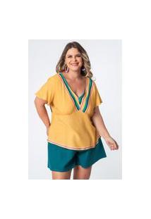 Bata Almaria Plus Size Munny Estampada Amarelo