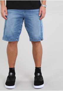 Bermuda Jeans Masculina Slim Com Cós Contrastante Azul Médio