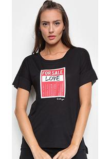 Camiseta Onbongo Alongada For Sale Feminina - Feminino-Preto