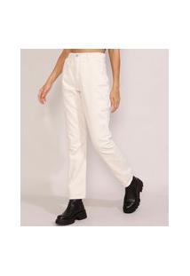 Calça De Sarja Feminina Reta Cintura Super Alta Off White