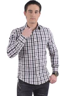 Camisa Xadrez Horus Slim Social 200111 Cinza