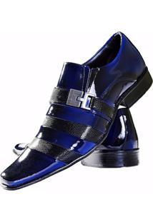 Sapato Social Gofer Couro Verniz - Masculino-Preto+Azul