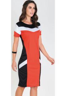 Vestido Tricolor Tubinho Moda Evangélica