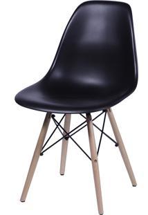 Cadeira Dkr Polipropileno E Base De Madeira Lawang – Preta