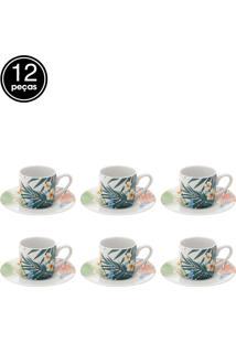 Jogo Xícaras 12 Pçs Para Café De Porcelana Spring 90Ml Lyor