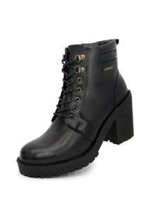 Bota Ankle Boot Salto Médio Sapatofranca Casual Fashion Com Cadarço Preto