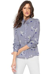 Camisa Facinelli By Mooncity Estampada Azul/Branca
