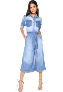 Macacão Jeans Forum Pantacourt Liso Azul