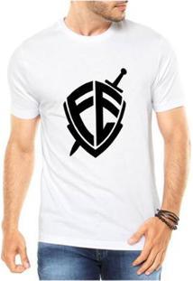 Camiseta Criativa Urbana Escudo Fé Religiosa Masculina - Masculino-Branco