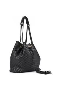 Matelasse Bucket Bag Black