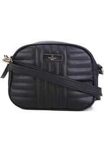 Bolsa Pagani Mini Bag Oval Matelassê Transversal Feminina - Feminino-Preto