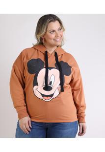 Blusão De Moletom Feminino Plus Size Mickey Com Capuz Caramelo