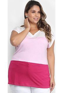 Blusa Lecimar Plus Size Listras Bicolor Feminina - Feminino-Rosa Claro