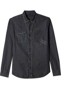 Camisa John John Leon Jeans Preto Masculina (Jeans Black Escuro, M)