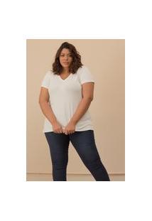 Camiseta Decote V Evasê Plus Size Off White-58/60
