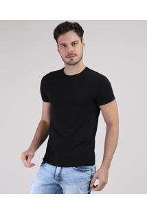 Camiseta Masculina Básica Com Elastano Manga Curta Gola Careca Preta