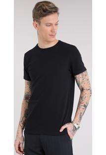 Camiseta Masculina Básica Manga Curta Gola Careca Em Algodão + Sustentável Preta