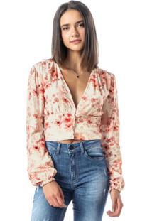 Blusa Rosa Ampla Floral