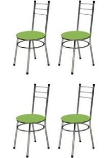 Kit 4 Cadeiras Baixas 0.236 Redonda Cromado/Verde - Marcheli