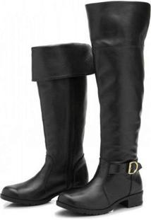 Bota Atron Shoes Over The Knee Couro Macia Conforto Leve Casual Preto