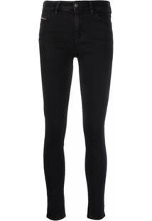 Diesel Slady Cropped Skinny Jeans - Preto