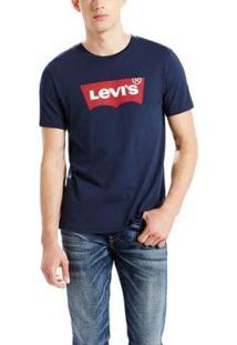 Camiseta Levis Masculina Logo Batwing Classic - Masculino-Azul