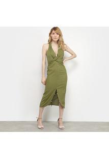 Vestido Il Shin Amarração Transpassado - Feminino-Verde Militar