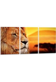 Quadro Oppen House 40X90Cm Leão Por Sol Amarelado Decorativo Interiores