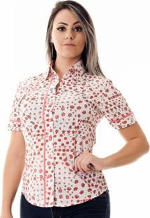 Camisa Pimenta Rosada Dona Cashmere - Feminino-Branco+Rosa