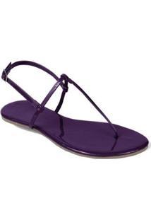 Rasteira Mercedita Shoes Verniz Lisa Feminina - Feminino-Roxo