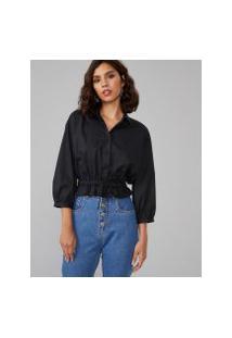 Amaro Feminino Camisa Cropped Algodão Com Elástico, Preto