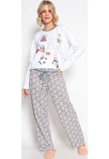 Pijama Manga Longa & Calã§A- Branco & Verde Escurosonhart
