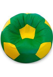Puff Bola Super Em Courino-Phoenix Puff - Verde / Amarelo