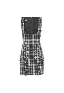 Vestido Salopette Tweed - Preto