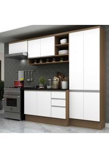 Cozinha Completa Compacta Com Armã¡Rio E Balcã£O Com Tampo Hollywood Multimã³Veis Nogueira/Branco - Incolor - Dafiti