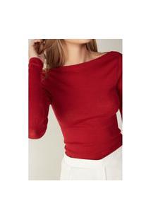 Blusa Tubinho Em Decote Barco Em Lã E Seda - Vermelho M