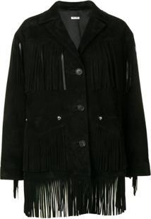 Miu Miu Fringed Jacket - Preto